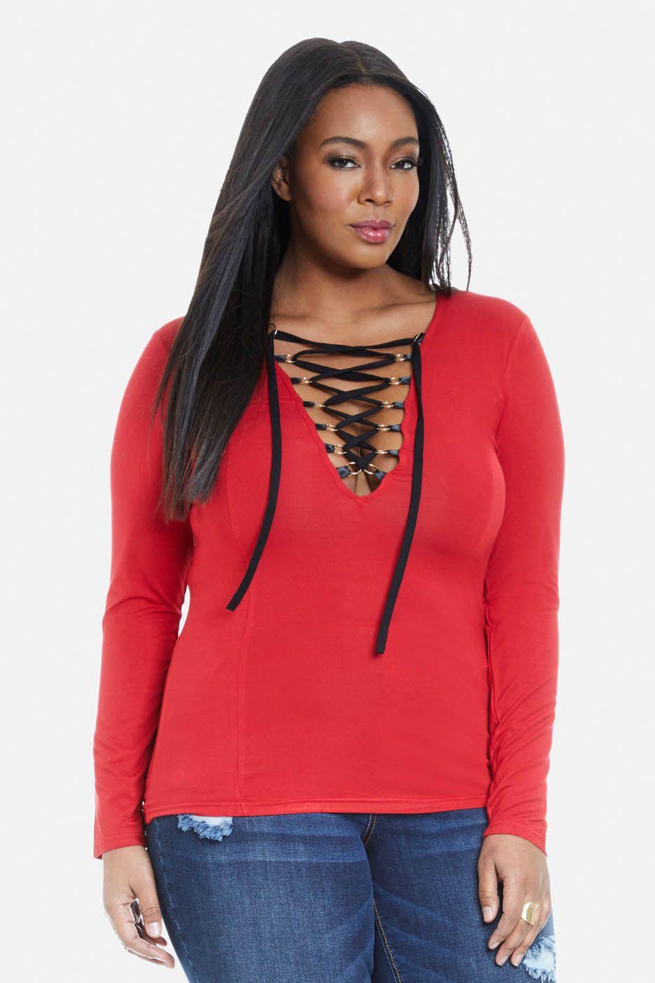 e8f85f8917 Molett Jules gyűrűs Lace-Up Top | Duci divat. | Trendy plus size ...