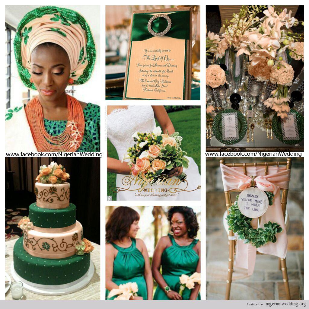 nigerian wedding emerald green and peach wedding color