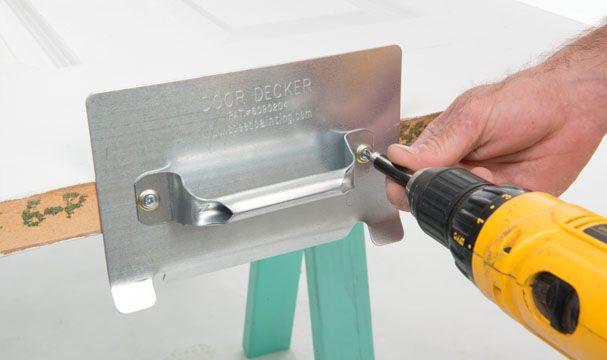 Step # 1 - Attach the Door Decker brackets to the door shutter or shelf & Step # 1 - Attach the Door Decker brackets to the door shutter or ...