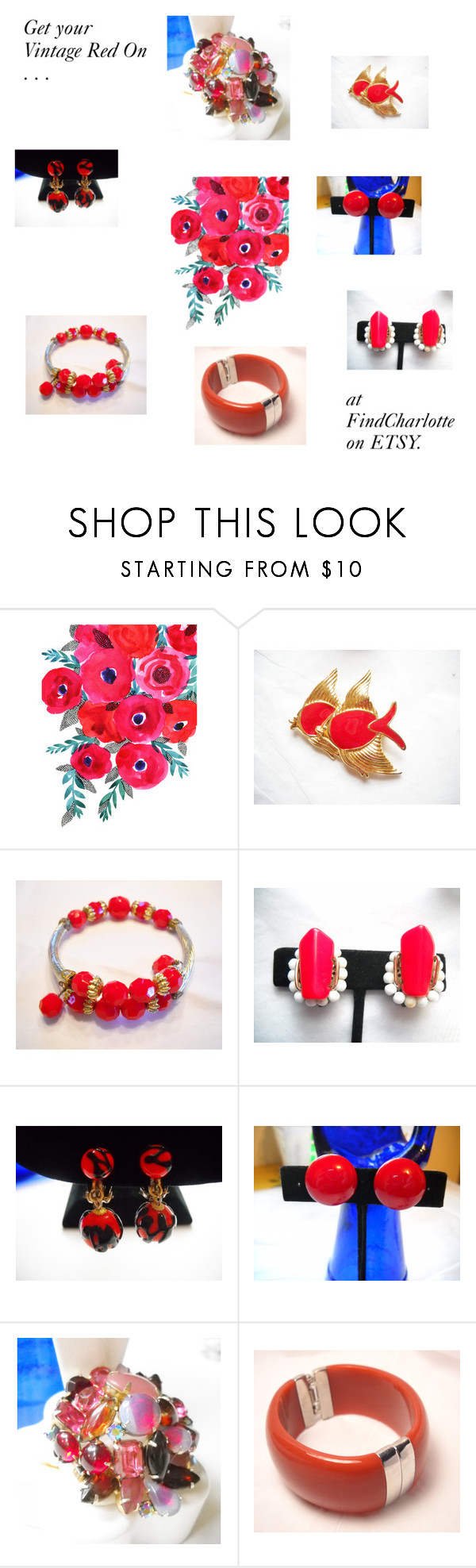 """Get Your Vintage Red On"" by findcharlotte on Polyvore featuring Trifari and vintage"