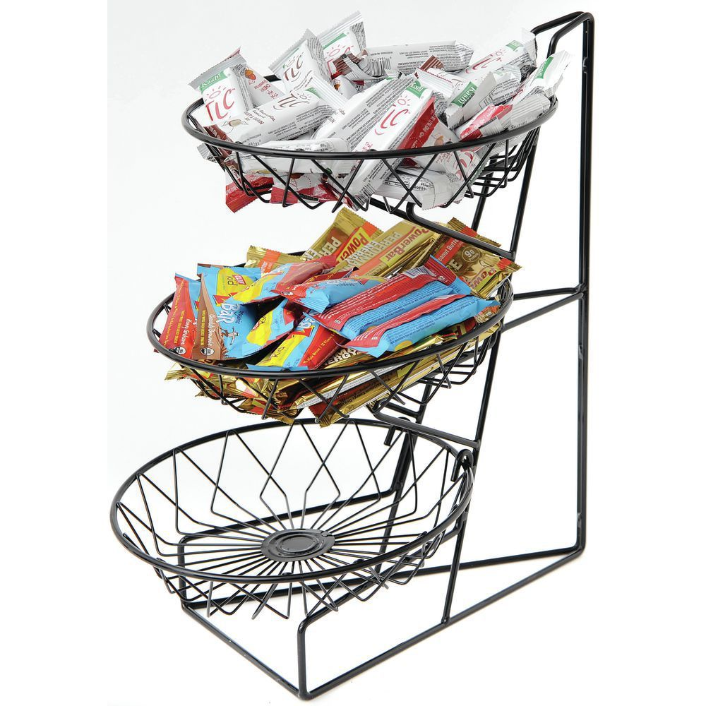 Round 3 Tier Wire Display Stand | Cal Mil Black Wire 3 Tier Countertop Basket Stand With 12 Round