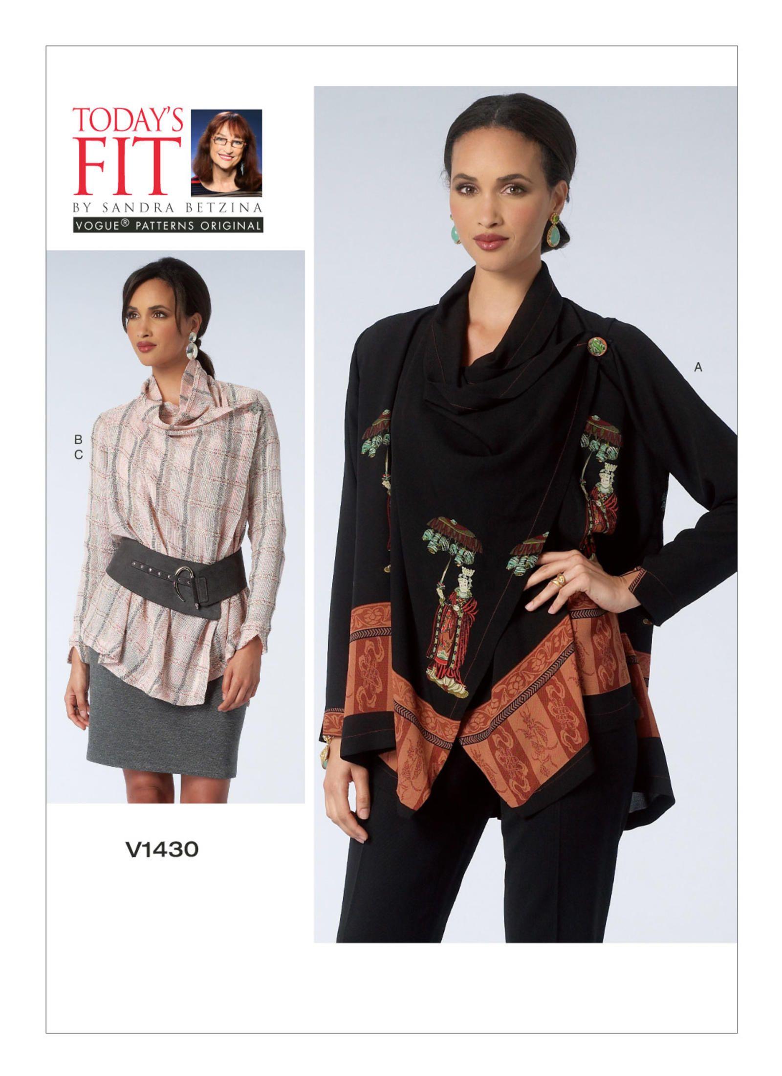 Vogue 1430 DRAPED-COLLAR BLOUSE AND SKIRT. Pattern by Sandra Betzina ...