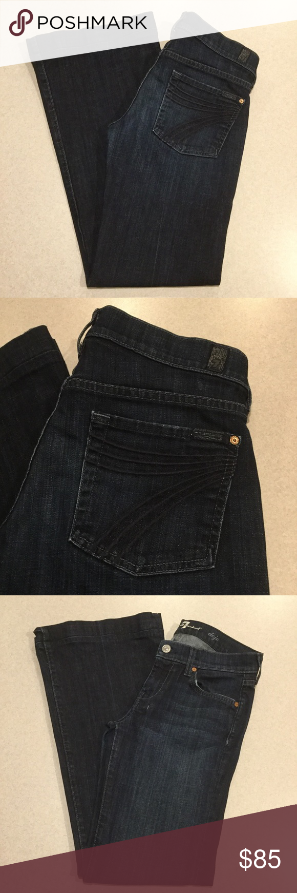 7 For All Mankind Jeans 27X31 Dojo New York Dark! ❗️PRICE ABSOLUTELY FIRM❗️ 7 for all mankind jeans Size 27 31 in professionally hemmed inseam The dojo in New York dark Famous blue stitched 7 back pockets Vibrant blue stretch denim with soft fading Perfect preowned condition, no flaws Retailed for $198.00 My dojos sell fast so don't wait on these!  All of my items come from a smoke free, pet free home and are authenticity guaranteed! Please ask any questions. 32 7 For All Mankind Jeans Flare…