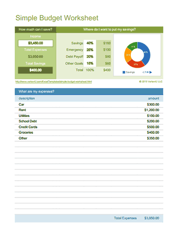 Download The Simple Budget Worksheet From Vertex42 Life
