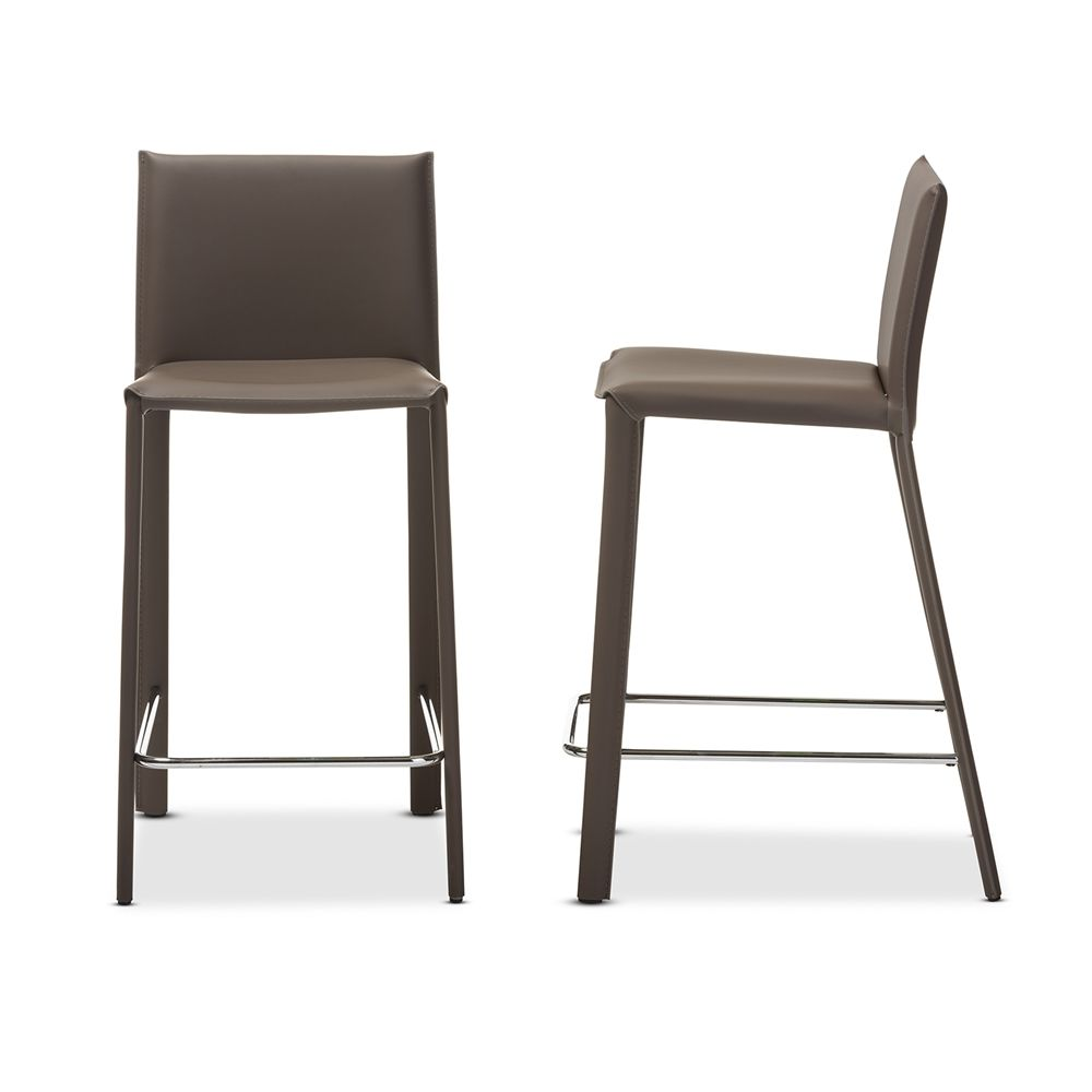 Baxton Studio Crawford Taupe Leather Upholstered Counter Height Stool   Set  Of 2