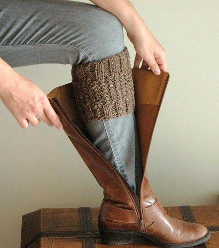 Barley Brown Knit Boot Cuffs Reversible Boot Socks Leg Warmers