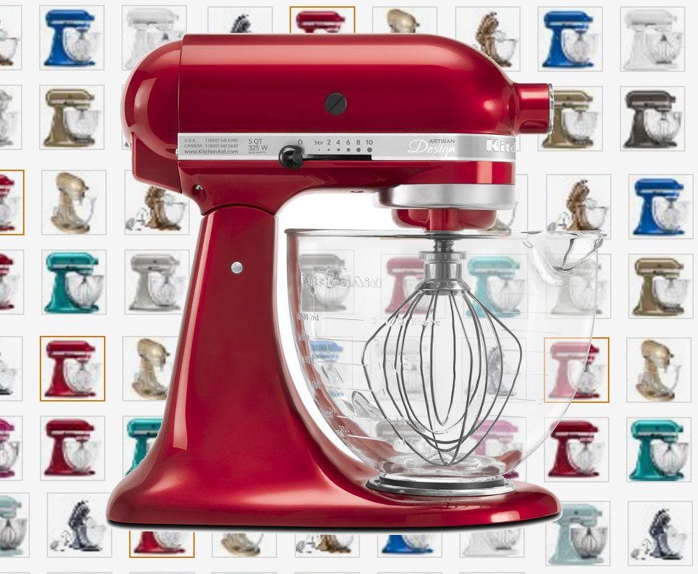 Kitchenaid artisan stand mixer with glass bowl