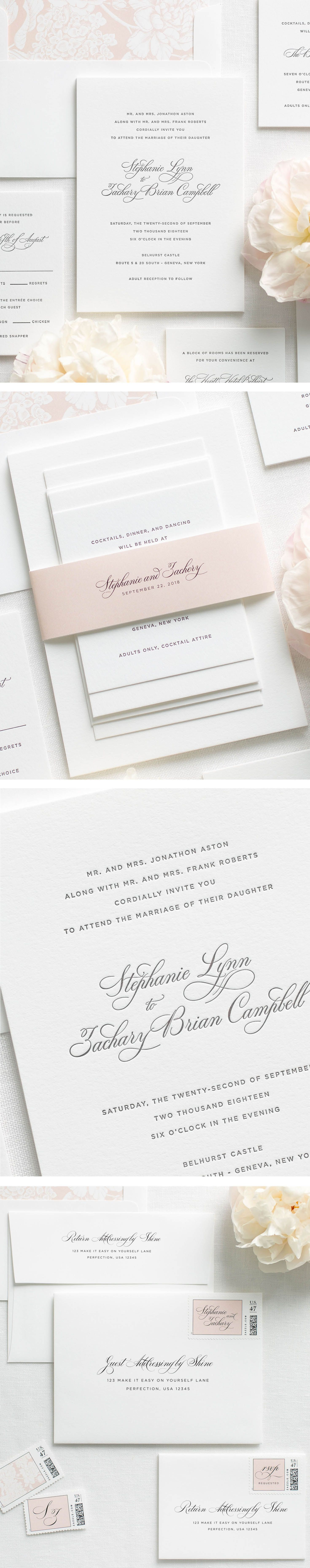 Delicate elegance letterpress wedding invitations invitaciones letterpress wedding invitations styled to perfection featuring elegant calligraphy customizable envelope liners ribbon solutioingenieria Choice Image