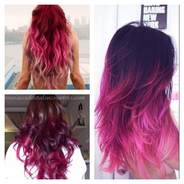 dégradé rouge&rose coiffure pour cheveux naturels Hair