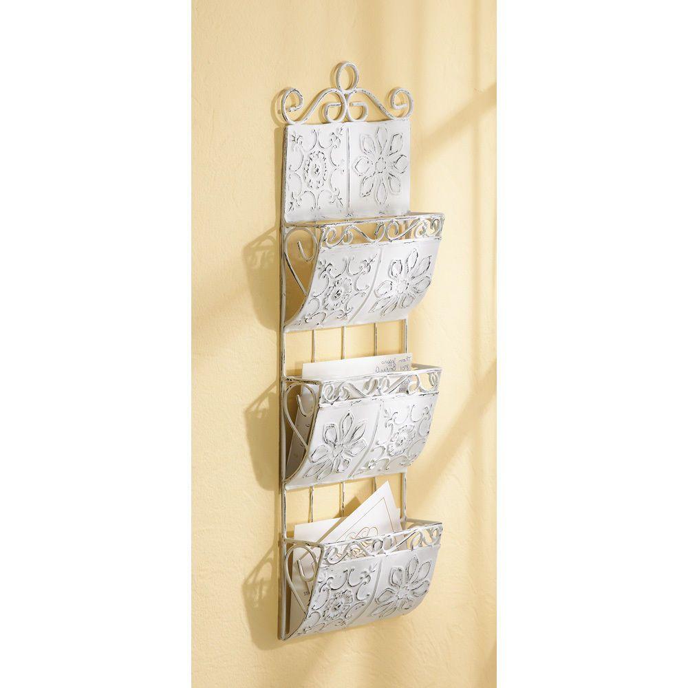 Classic white letter organizer wall hanging mail bin shabby elegance ...