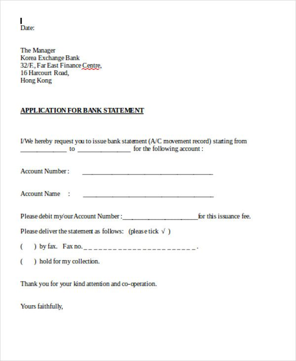 bank account form template test application letter format for free - account form template