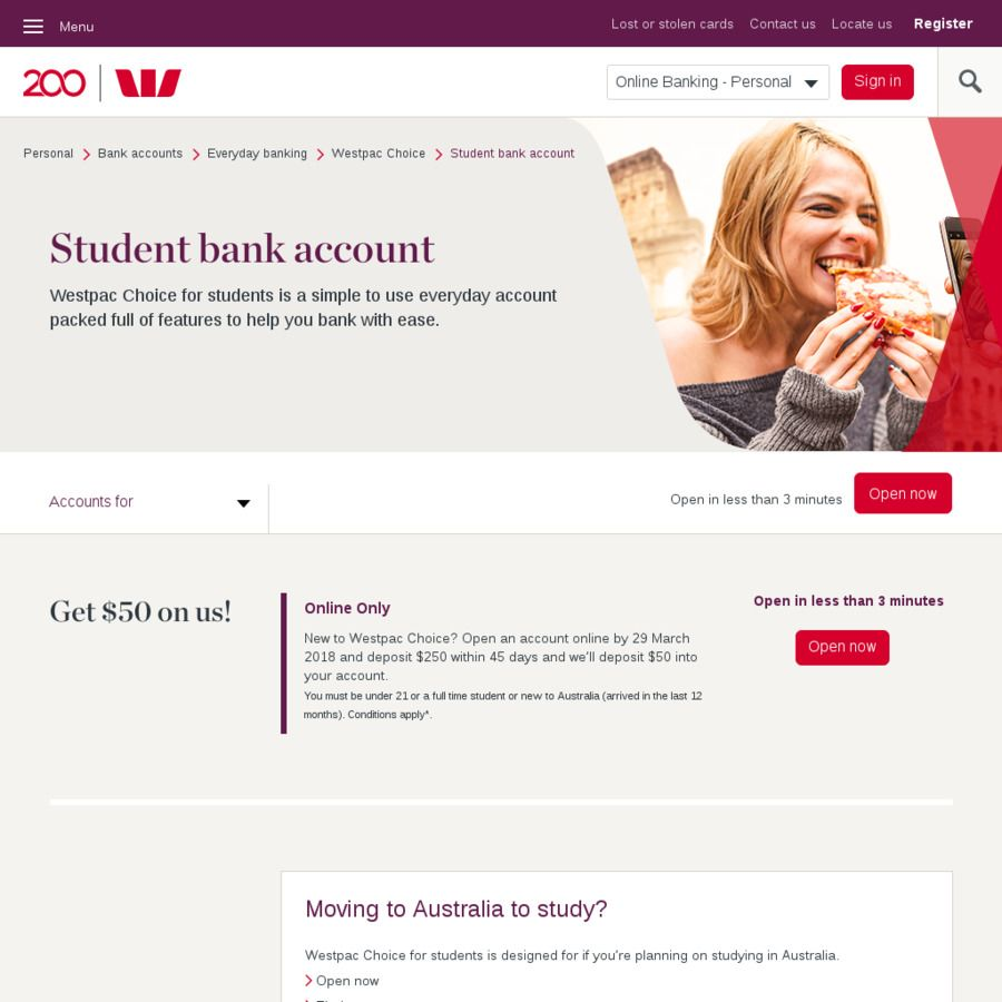 50 Cash for Opening a New Westpac Choice Student Bank