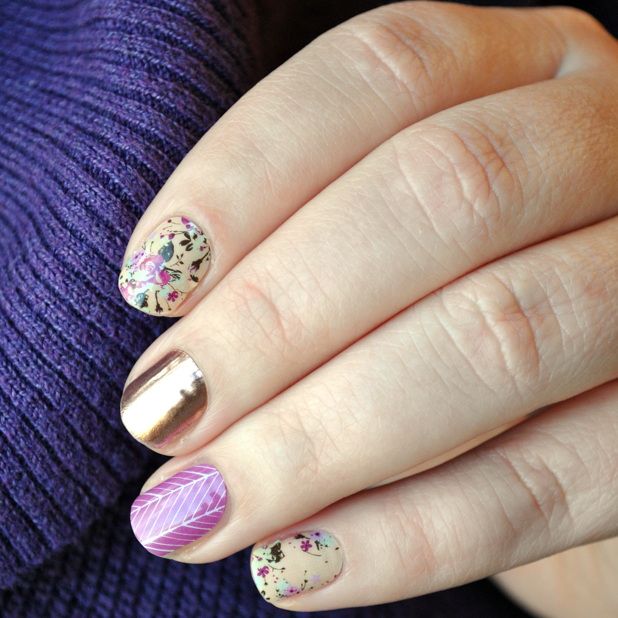 Neutral floral Jamberry nails combo manicure featuring Sweet ...