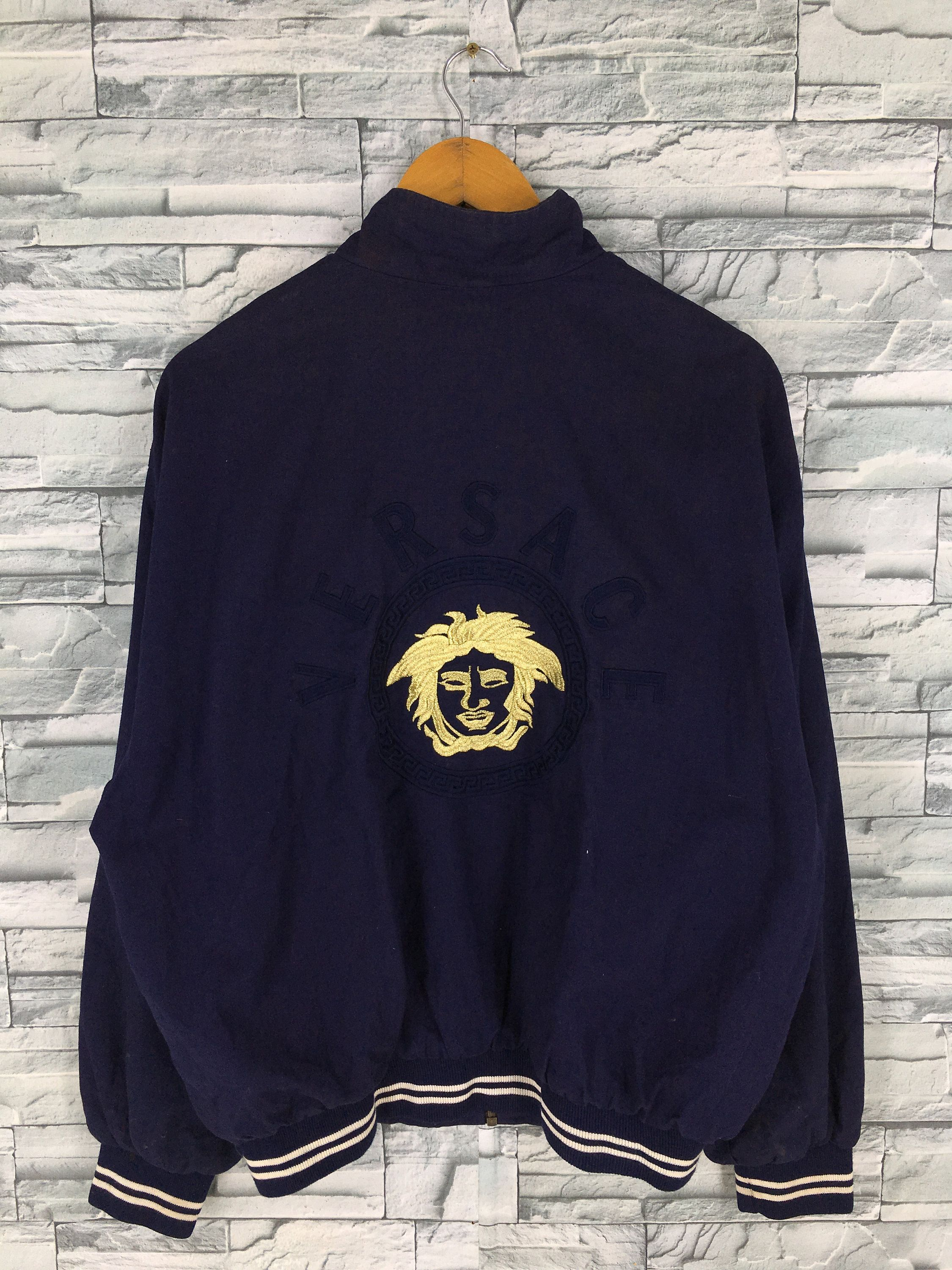 Versace Jeans Couture Jacket Large Men Women Dark Blue Gianni Versace Medusa Embroidery Made In Italy V Unique Sweatshirt Couture Jackets Versace Jeans Couture