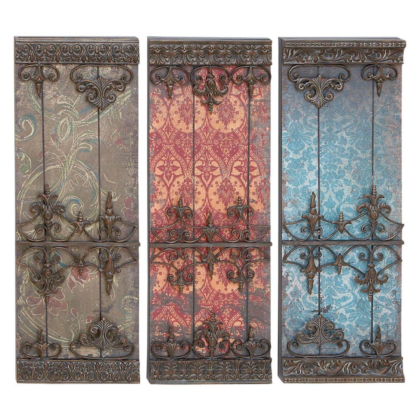 DecMode Fleur De Lis Textured Wall Plaque Set of 3 in