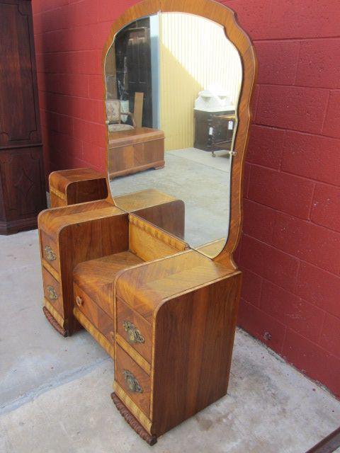 Waterfall Bedroom Suite Part - 23: American Vanity Dresser Art Deco Waterfall Bedroom Furniture