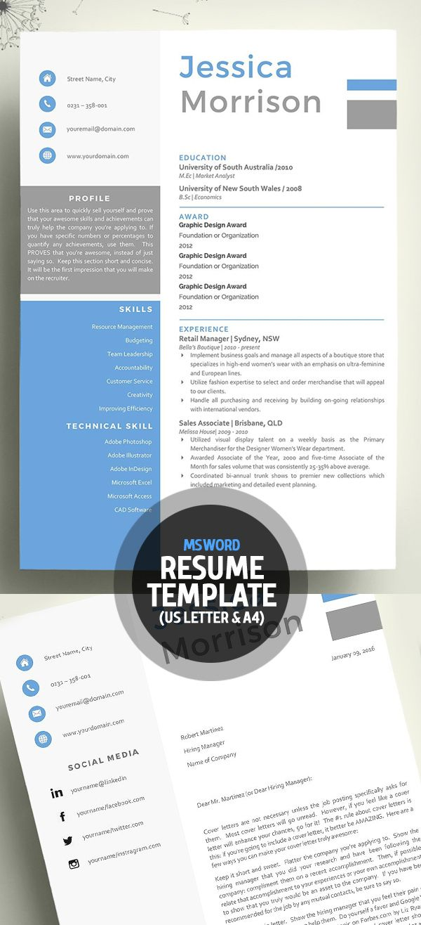 Word Resume with Cover letter Template | Misc | Pinterest | Me gustas