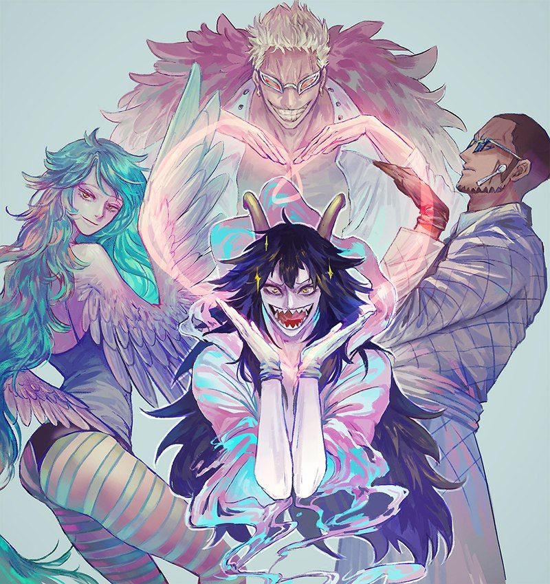 One Piece, Donquixote Doflamingo, Vergo, Caesar, Monet