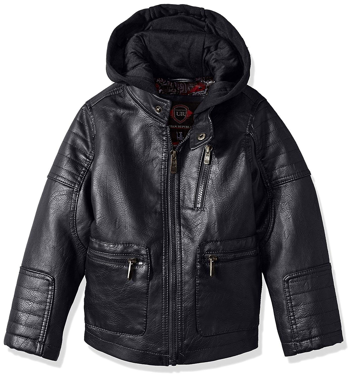 Boys' Artsy Faux Leather Jacket with Fleece Hoodie Navy