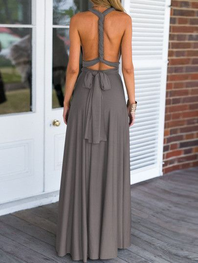 245359f4dcaa6 Summer Beach Maxi Dress in Grey with V Neck | My Style | Fashion ...