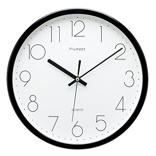 Plumeet 12 Inch Non Ticking Silent Wall Clock With Modern And Nice Design For Living Room Large Kitchen Wall Clock Battery Operated Black Wall Clock Silent Wall Clock Kitchen Wall Clocks