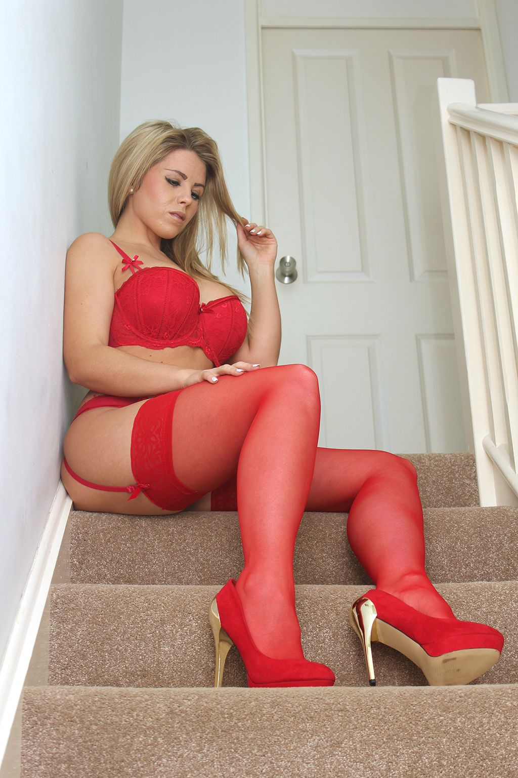 busty blonde in red lingerie, stockings and heels | 34 | pinterest