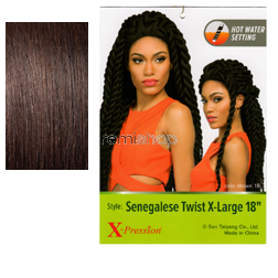 "Tue Jun 7, 2016 - #4: X-Pression Braid Senegalese Twist X-Large 18""XL - Color 2 - Synthetic Braiding"