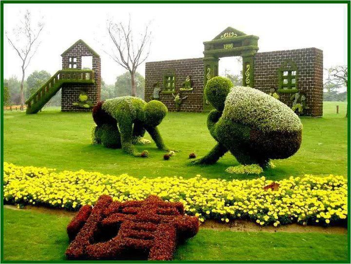 woman and man topiary