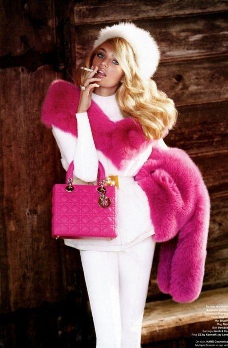 <3 Pink fur boa & bag..<3 Dior