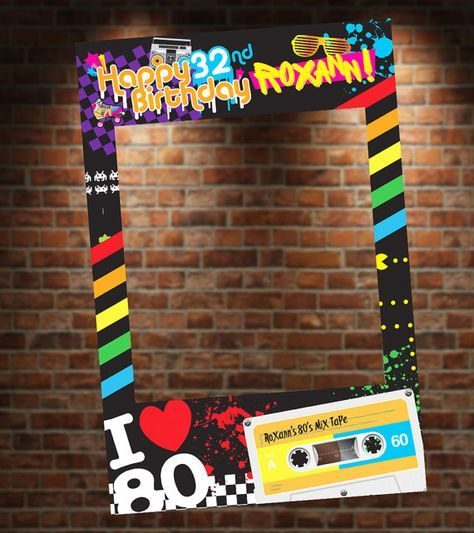80 S Theme Photo Booth Party Prop Frame Digital File Etsy 80s Party Decorations 80s Theme Party Theme Party Decorations