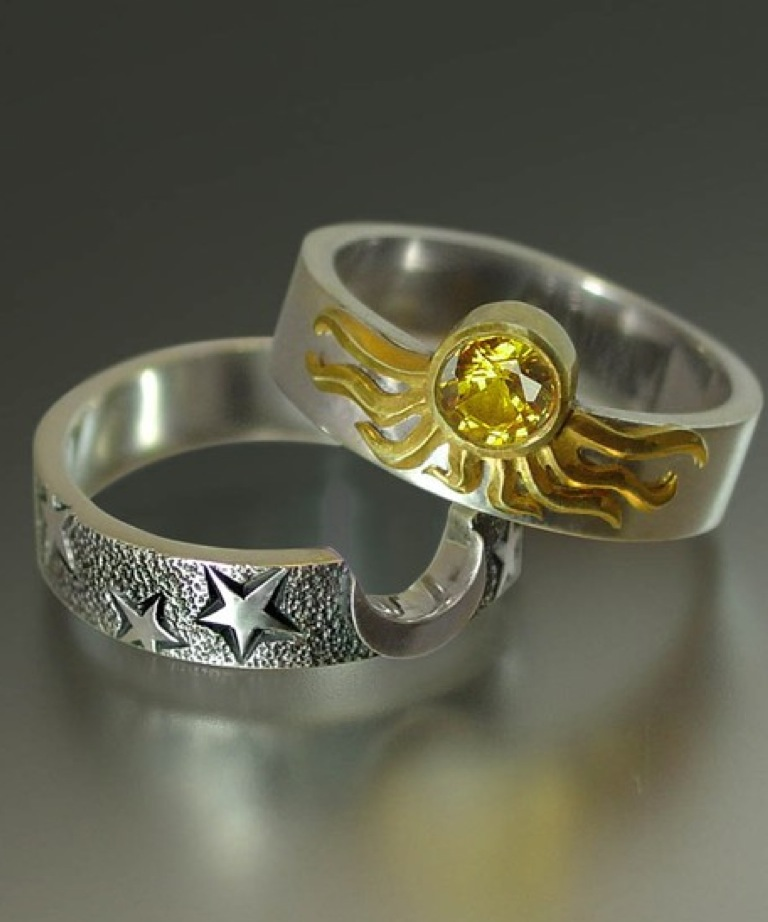 Sun and Moon ECLIPSE Engagement Ring and Wedding Band Set in 18K gold and silver $685.00