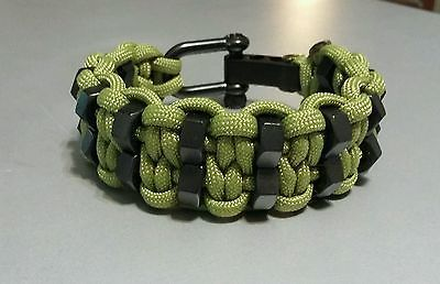Double Hex Nut Paracord Bracelet With Black Adjustable Shackle