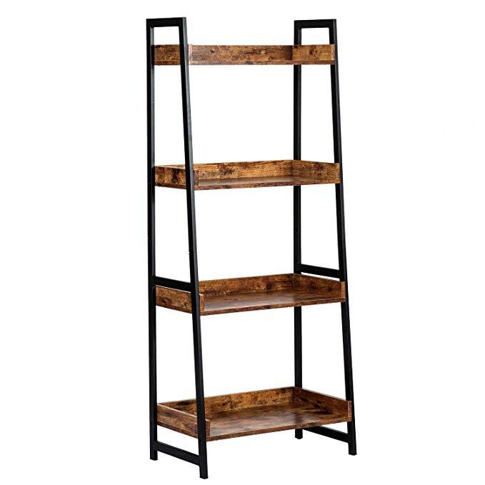 Amazon Com Amoak 4 Tier Bookshelf Industrial Ladder Shelf