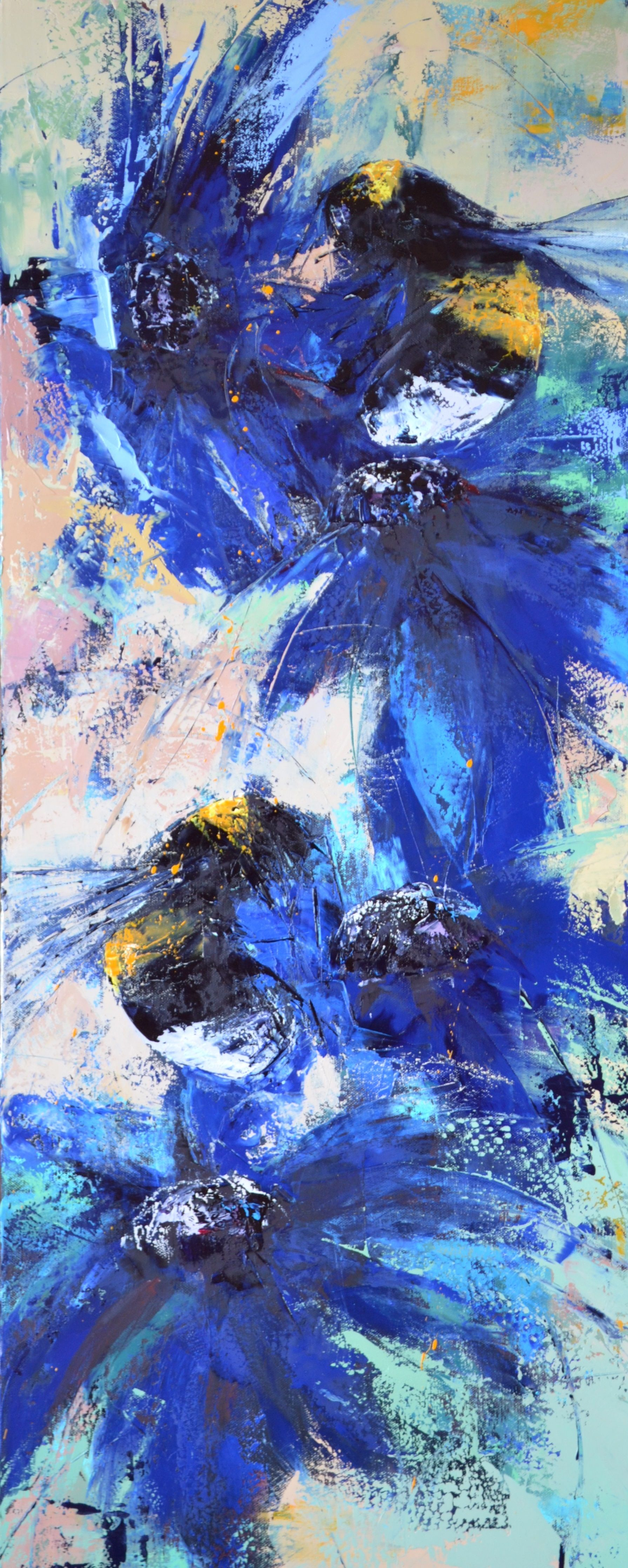 Bees and blue flowers origin oil painting by olena