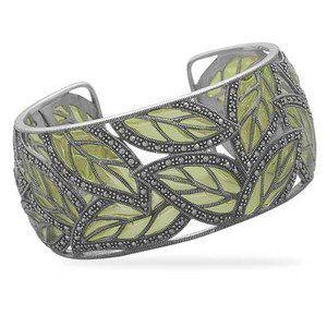 Cuff Bracelet Green Leaf Sterling Silver Marcasite 31mm Wide AzureBella Jewelry. $422.42. Intricate design. .925 sterling silver. Jewelry gift box included