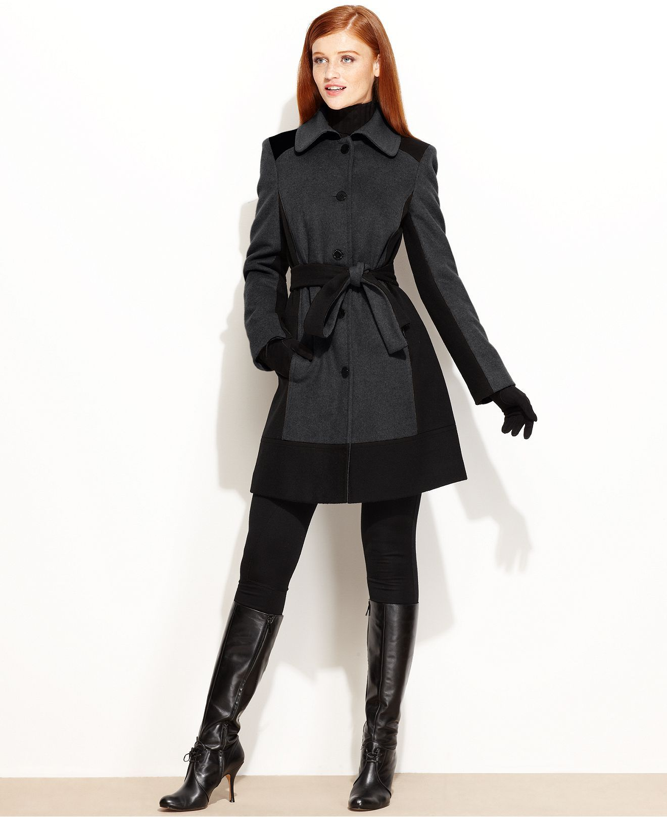 7240fc6bab0 Calvin Klein Coat, Colorblock Wool-Blend Belted $169.99 | Outerwear ...