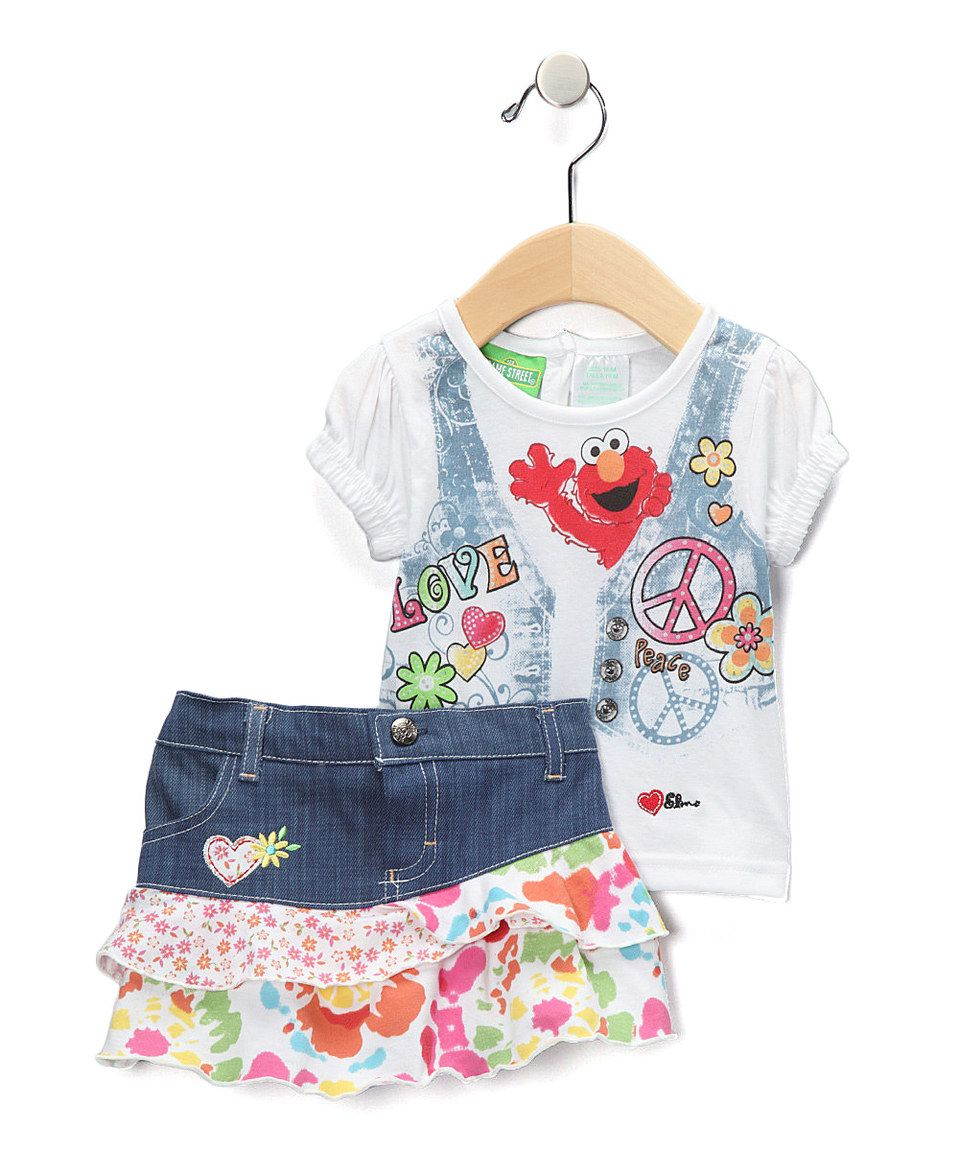 Take a look at this White & Denim Elmo 'Love' Tee & Skirt - Infant & Toddler today!