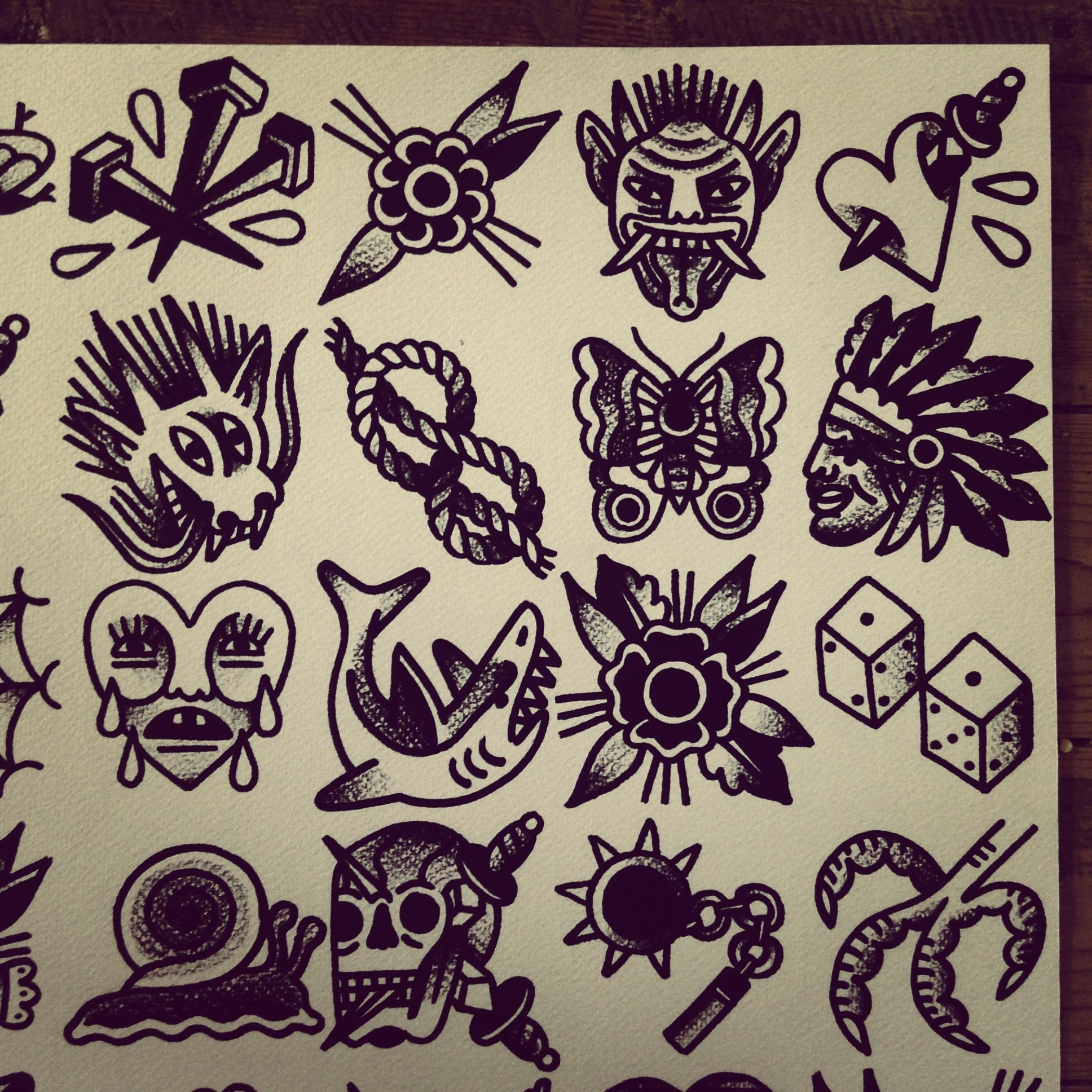 Tattoo flash by mr levi netto all designs are 7 x 7 cm for Traditional tattoo flash