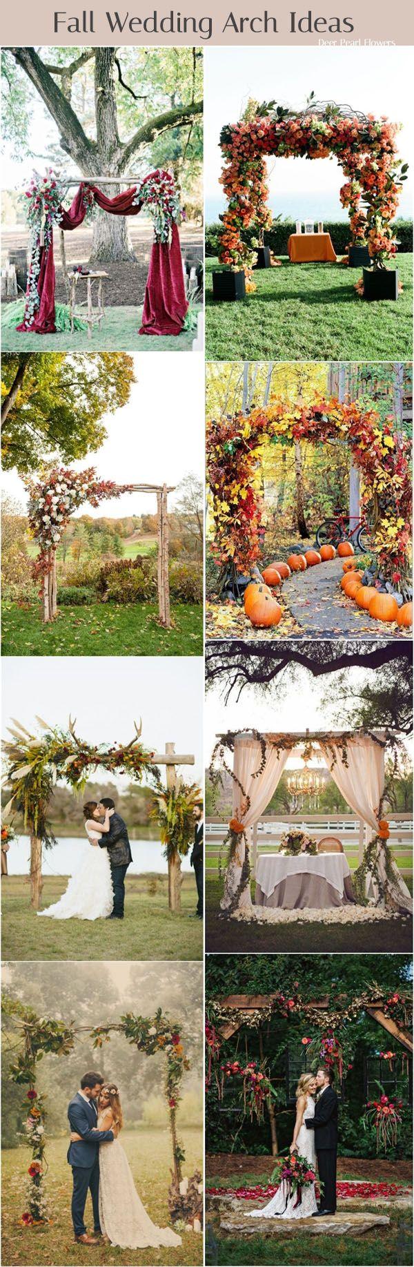 Fall wedding arch and alter decor ideas