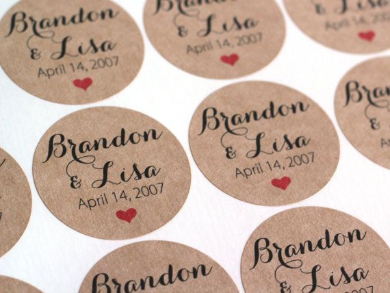 2 Custom Wedding Stickers Brown Kraft Name Date Labels Calligraphy Script Invitation Seals Favors Mason Jar