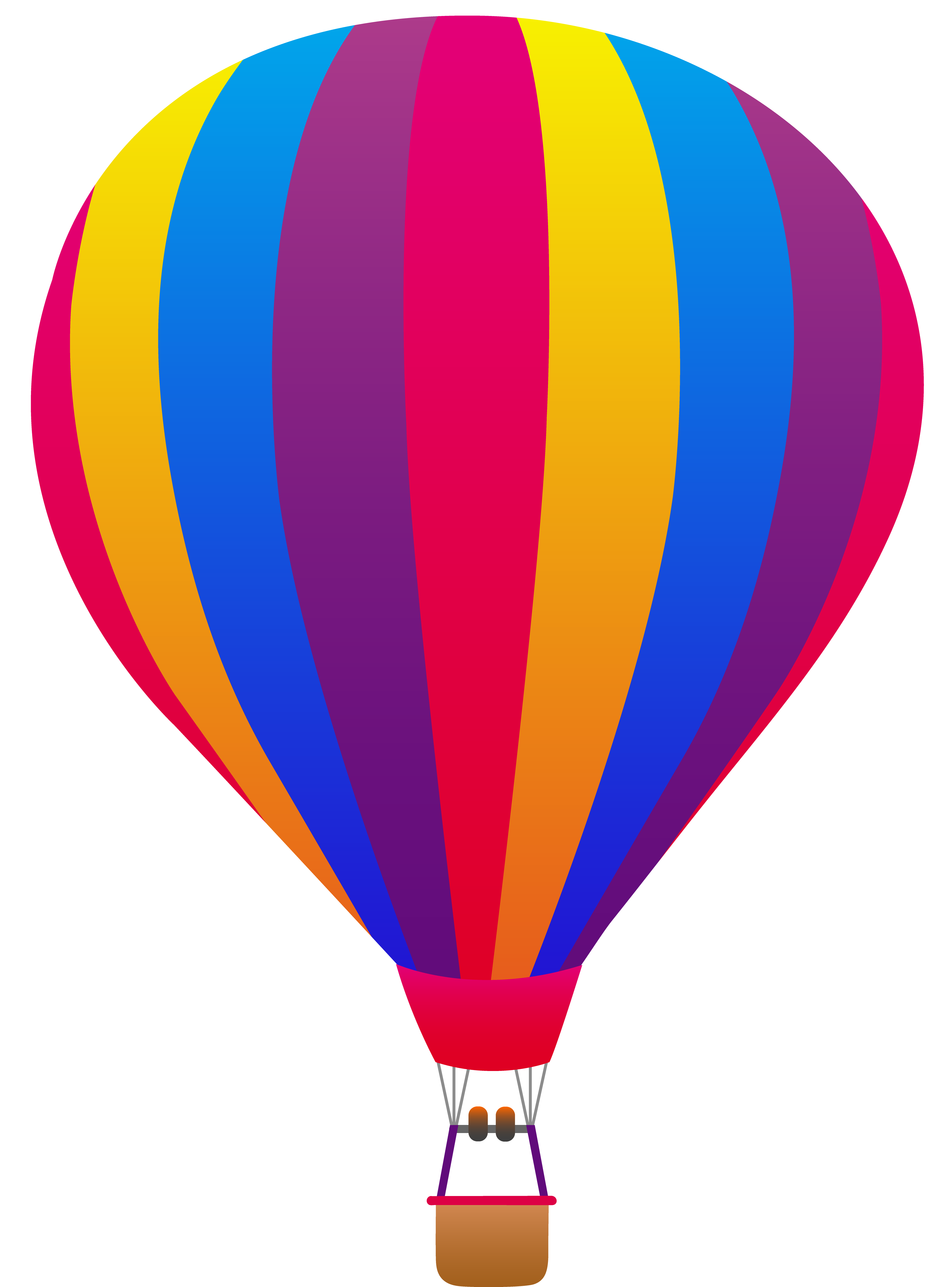 Hot Air Balloon Clip Art Pink Yellow Blue And Purple