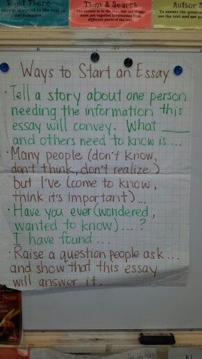 Ways To Start A Personal Essay Anchor Chart  Teaching Writing In  Ways To Start A Personal Essay Anchor Chart