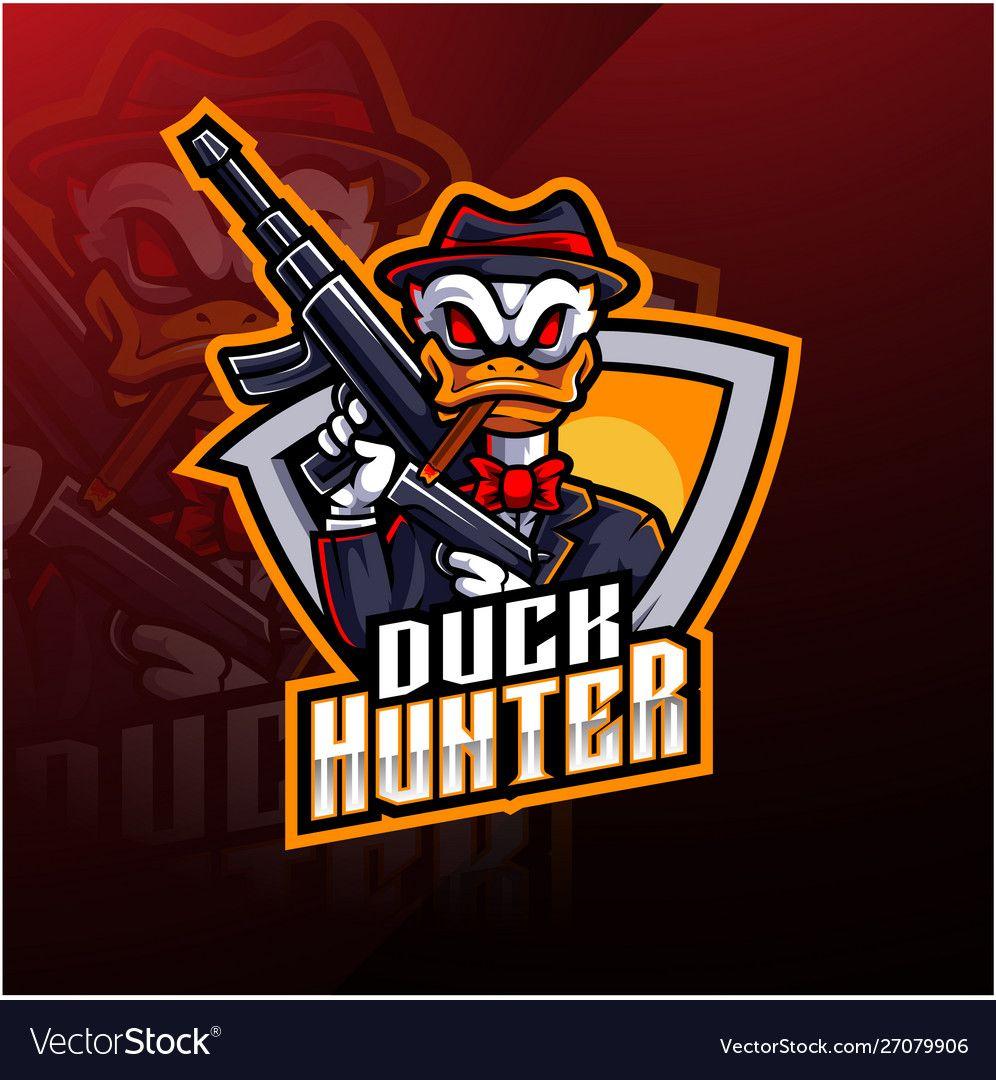 Duck hunter esport mascot logo design vector image on em