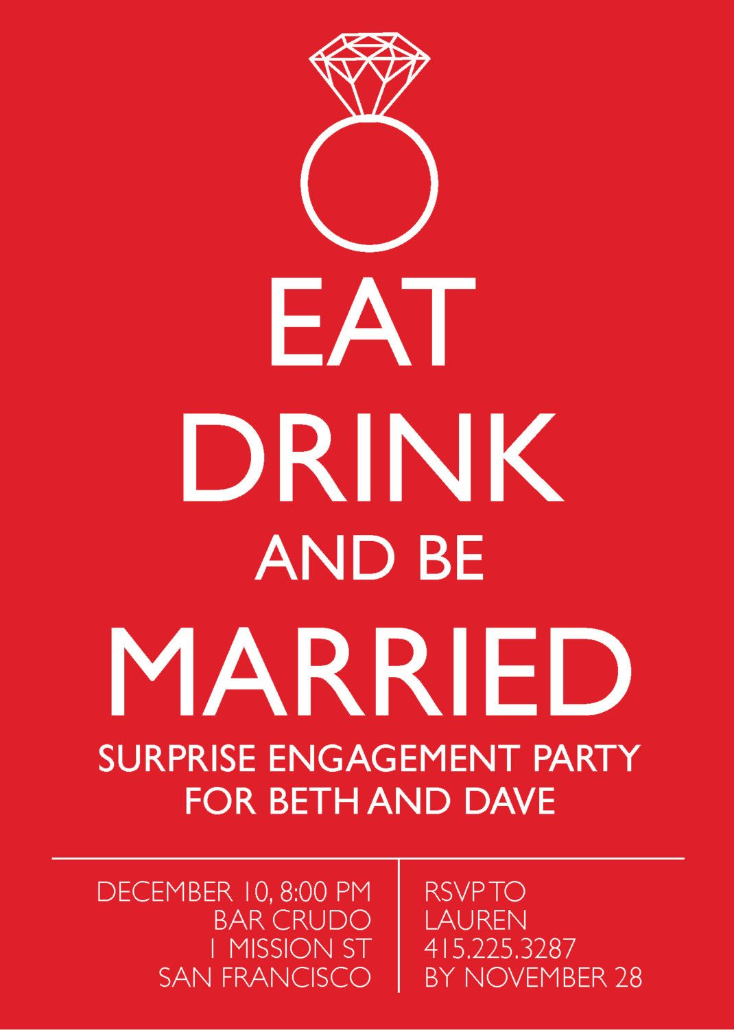 Quirky & Fun ENGAGEMENT PARTY Invitation: Digital printable file ...