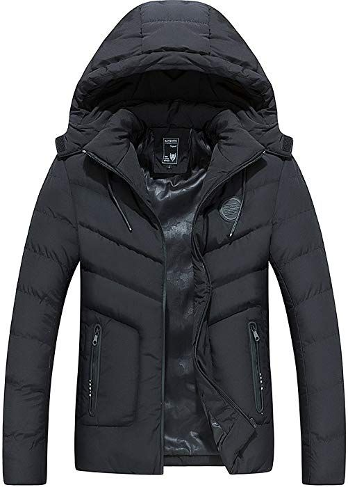 Mens Hooded Padded Quilted Down Jacket Winter Warm Casual Parka Puffer Coat Size