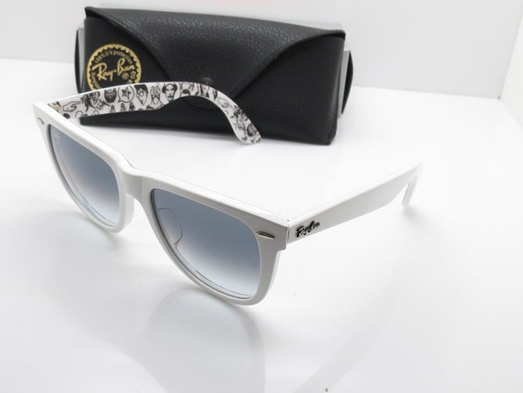 624537930f9 Ray Ban RB2140 Wayfarer Sunglasses Top Texture on White Frame Crystal  Gradient Light Grey Lens.