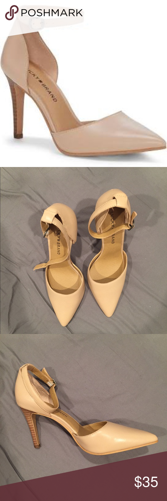 8724576caf Lucky Brand Leather Pumps, 6.5M (new with tags) Lucky Brand Tukko d'orsay  ankle strap pump in nude, size 6.5M. Leather upper, man made lining and  sole.