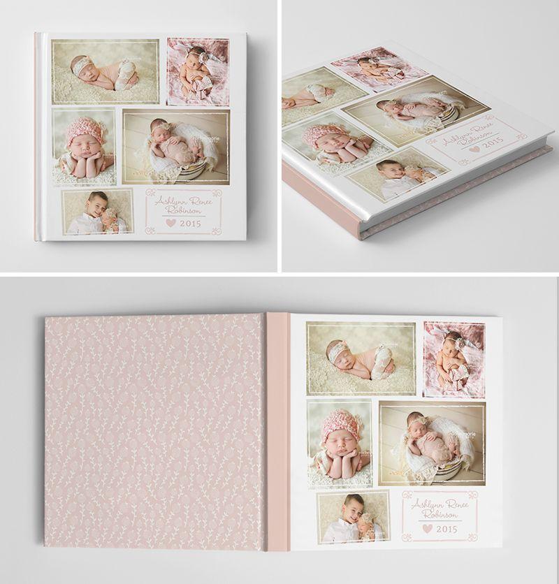 newborn girl album book cover template for photographers