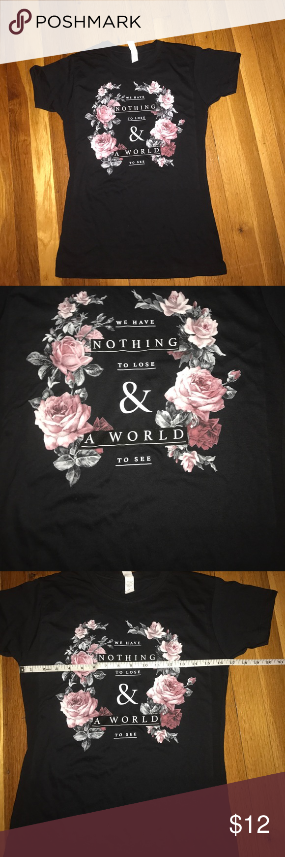 Black t shirt large - Black T Shirt Large W Quote Flowers