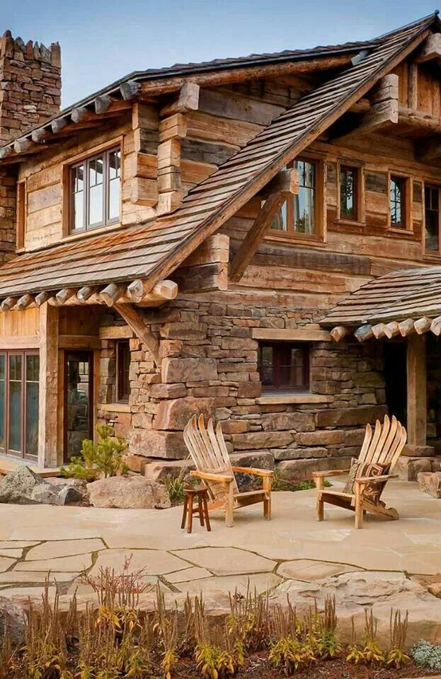 Stone and wood houses pinterest stone woods and cabin for Log and stone homes